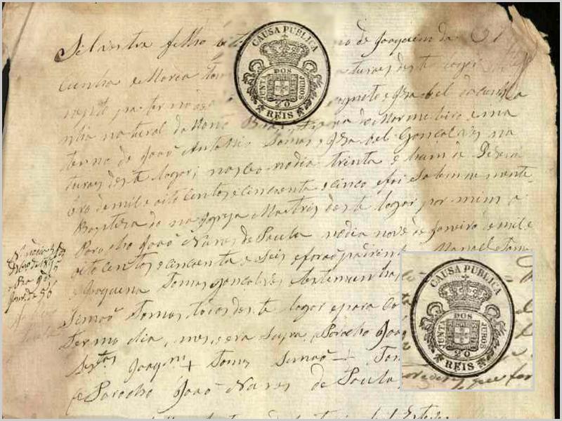 Registos paroquiais de Penalobo com carimbo/selo