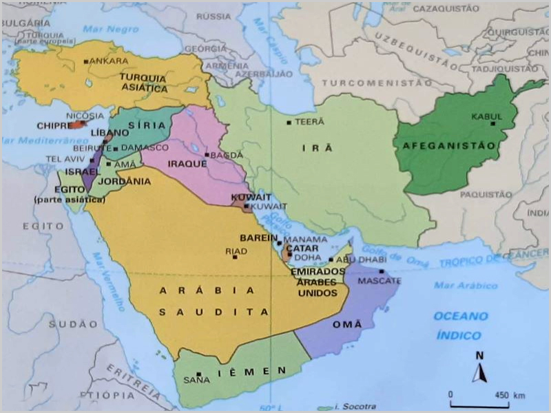 Mapa do Médio Oriente