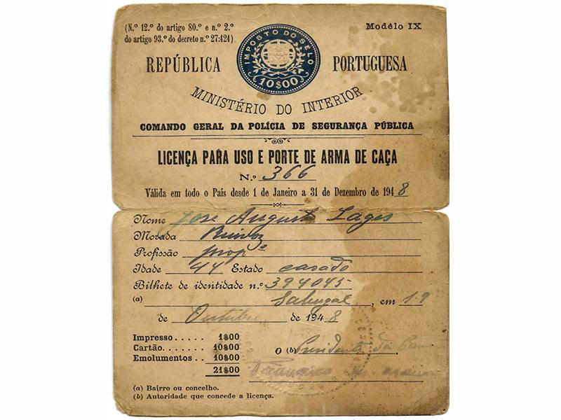 Licença de uso e porte de arma de caça de José Augusto Lages (ano de 1948)