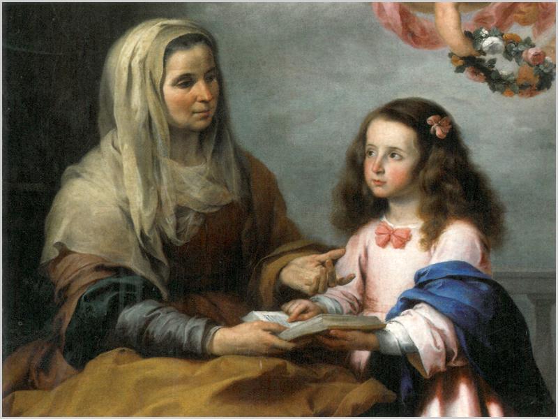 Pintura de Bartolomé Murillo, a representar Santa Ana a ensinar a Virgem Maria