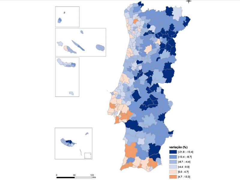 Variação em percentagem da população residente nos municípios entre 2011-2021