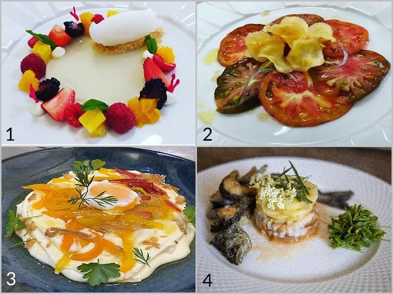 (1) Visita à Cova da Beira; (2) Carpaccio 7 Tomates; (3) Pimentos no Ninho com Ovo; (4) Trutas com vinagrete