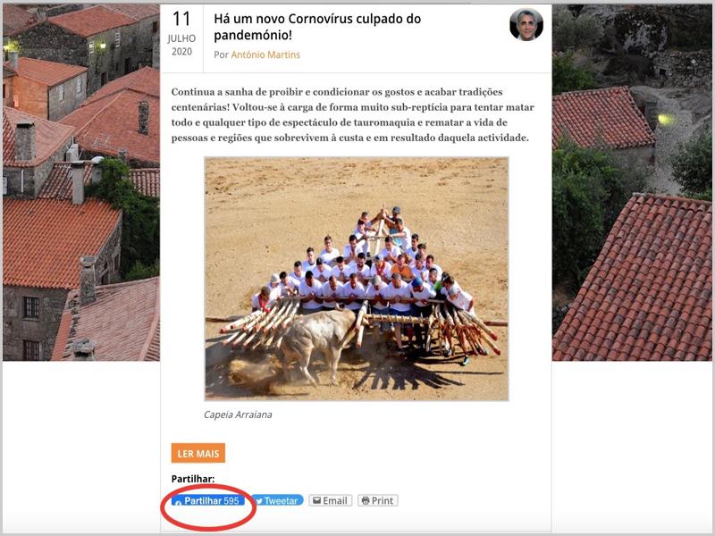 Print Screen da primeira crónica da nossa colaboração regular no Capeia Arraiana, que atingiu 595 partilhas e nos motivou para aceitar o desafio de continuar. Bem hajam!