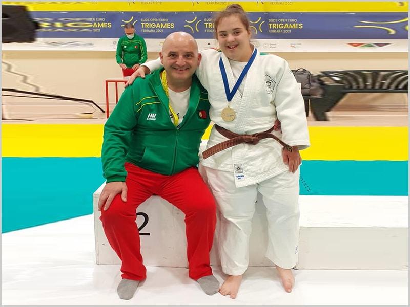 Maria Ribeiro com o seu treinador