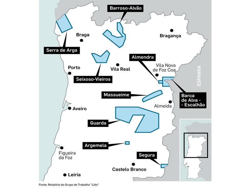Mapa com as zonas de mineralizações do lítio no centro-norte de Portugal